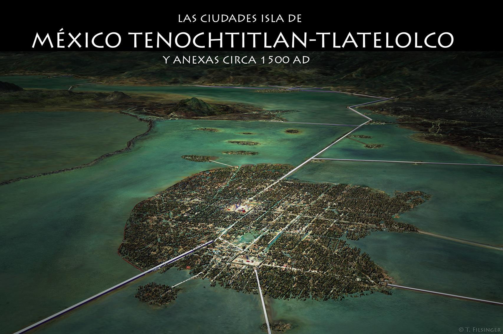 Así era Tenochtitlán en el siglo XV. Mapa digitalizado por Tomás Filsinger.