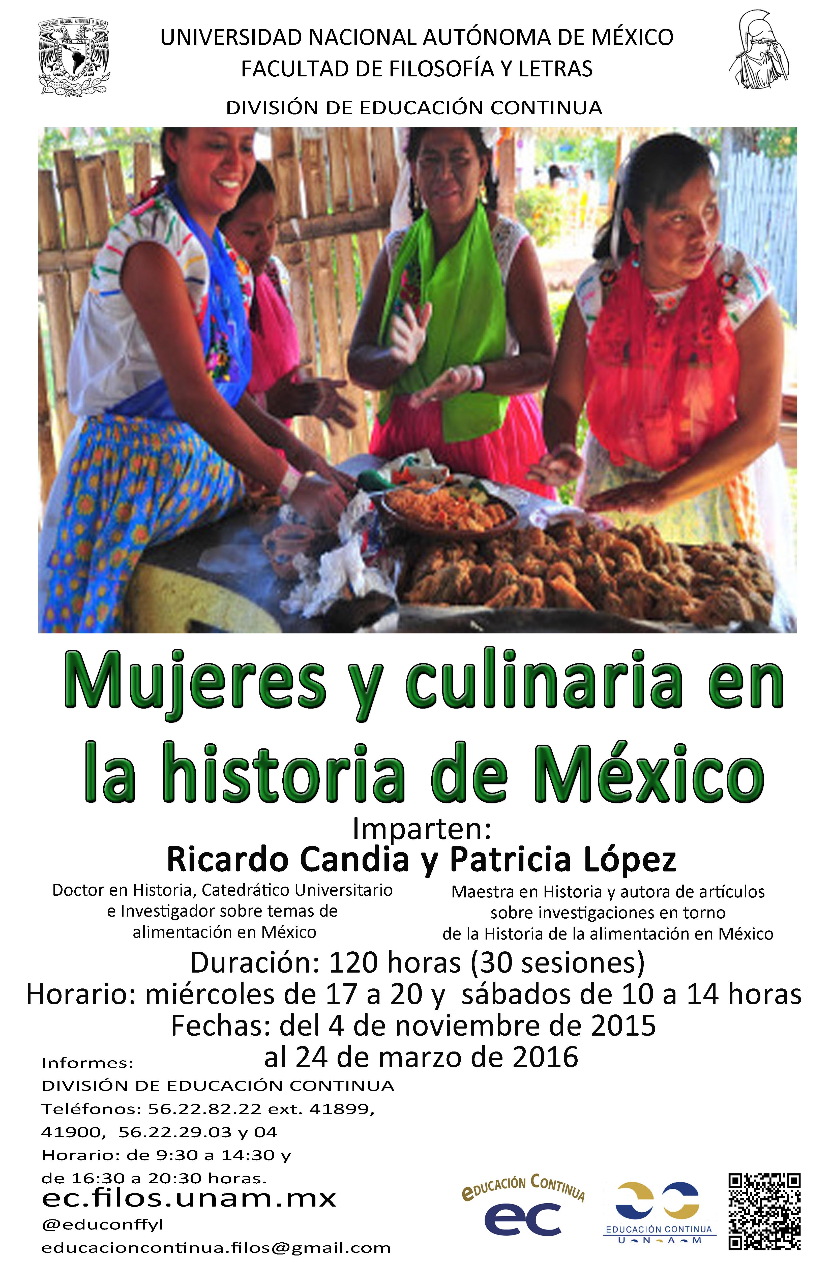 DIPLOMADO «Mujeres y culinaria en la Historia de México» UNAM.