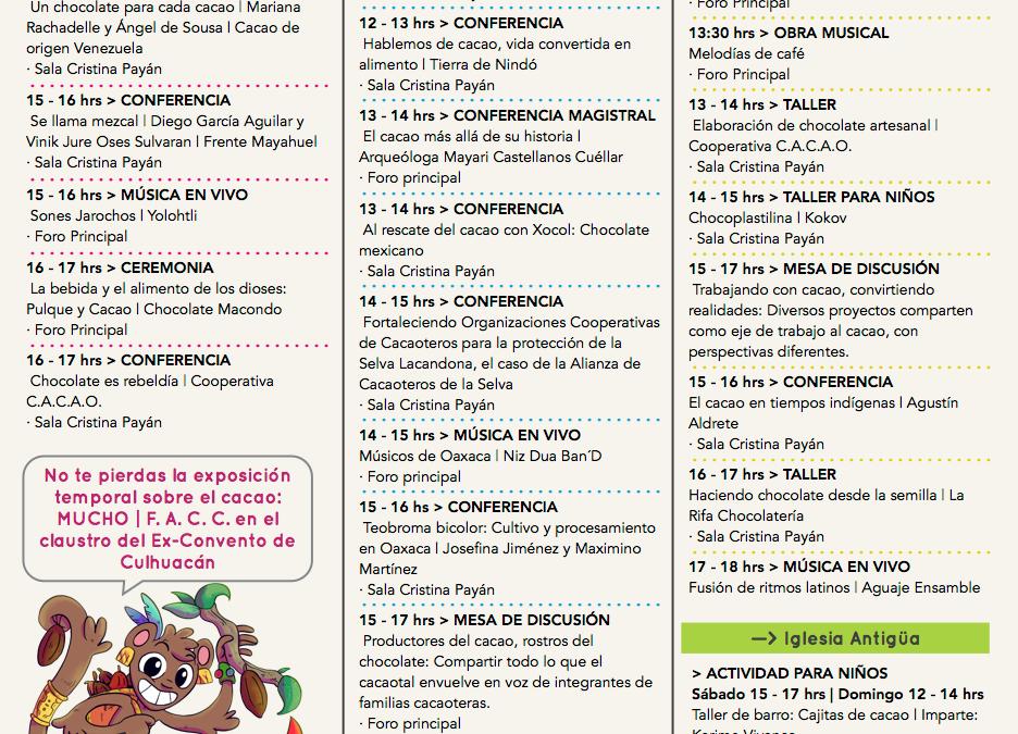 PROGRAMA del 4to Festival Artesanal de Cacao y Chocolate
