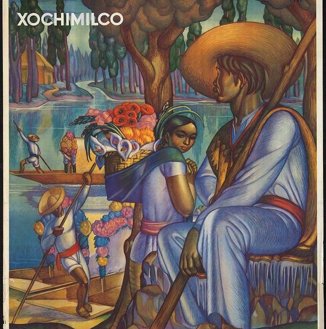 Compra este poster VINTAGE MEXICO – XOCHIMILCO online.