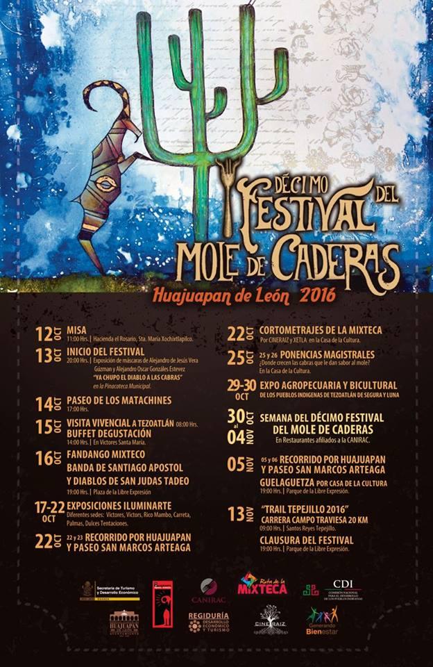 Ya comienza el décimo Festival del Mole de Caderas en la mixteca oaxaqueña.
