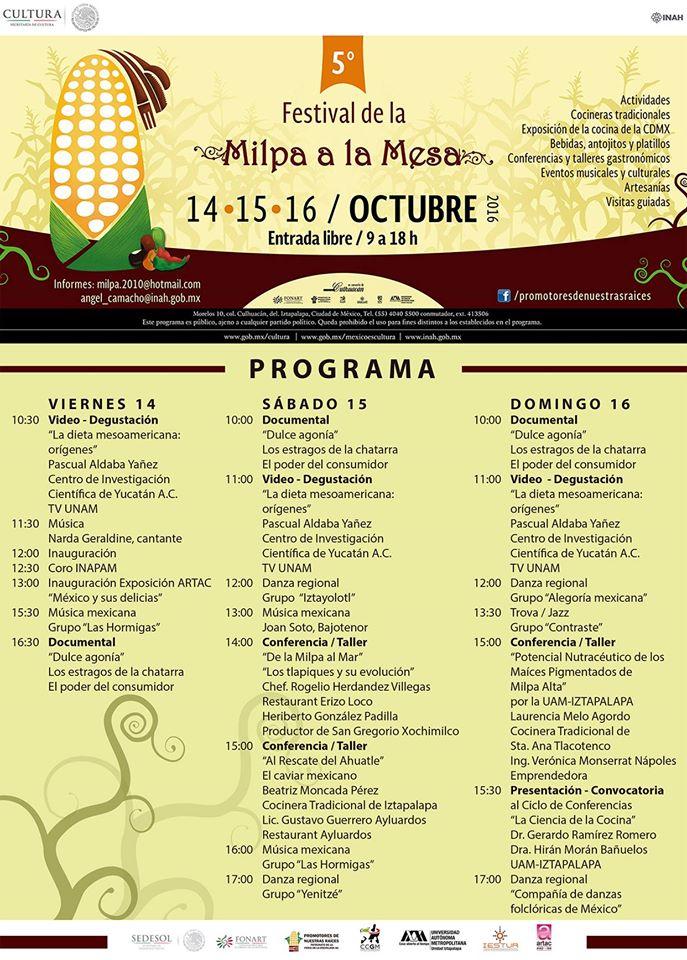 Programa Festival Milpa Cocina Prehispanica