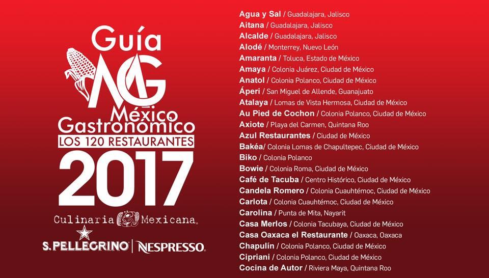 Estos son los 120 Mejores Restaurantes de México 2017. Culinaria Mexicana