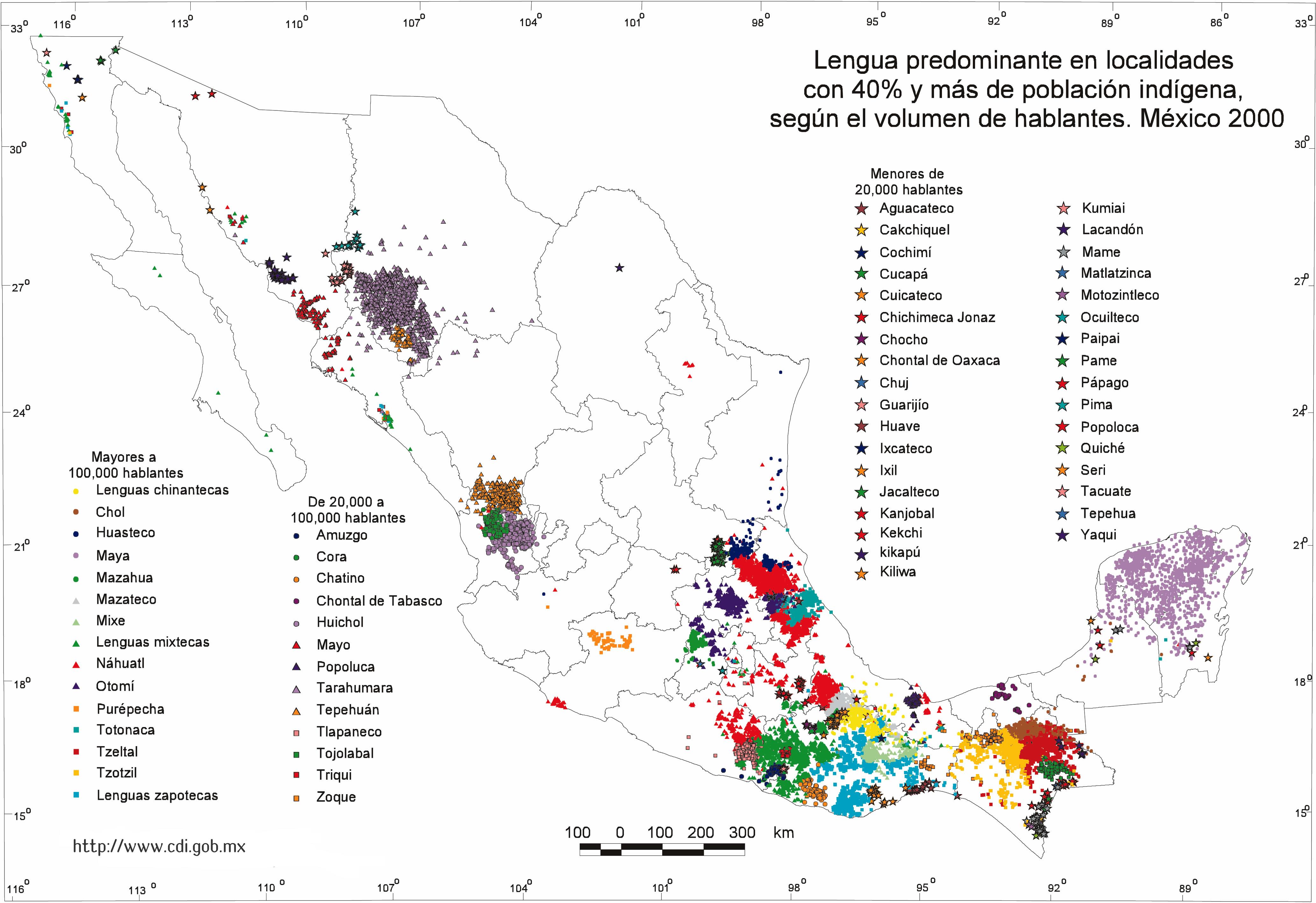 Distribución geográfica de las 68 Lenguas Indígenas de México.