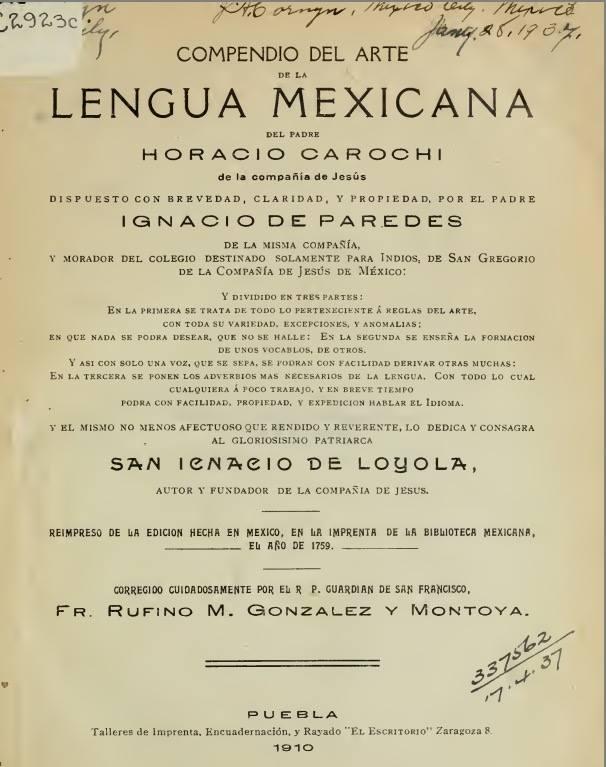 Compendio del arte de la lengua mexicana. Carochi 1662 – PDF