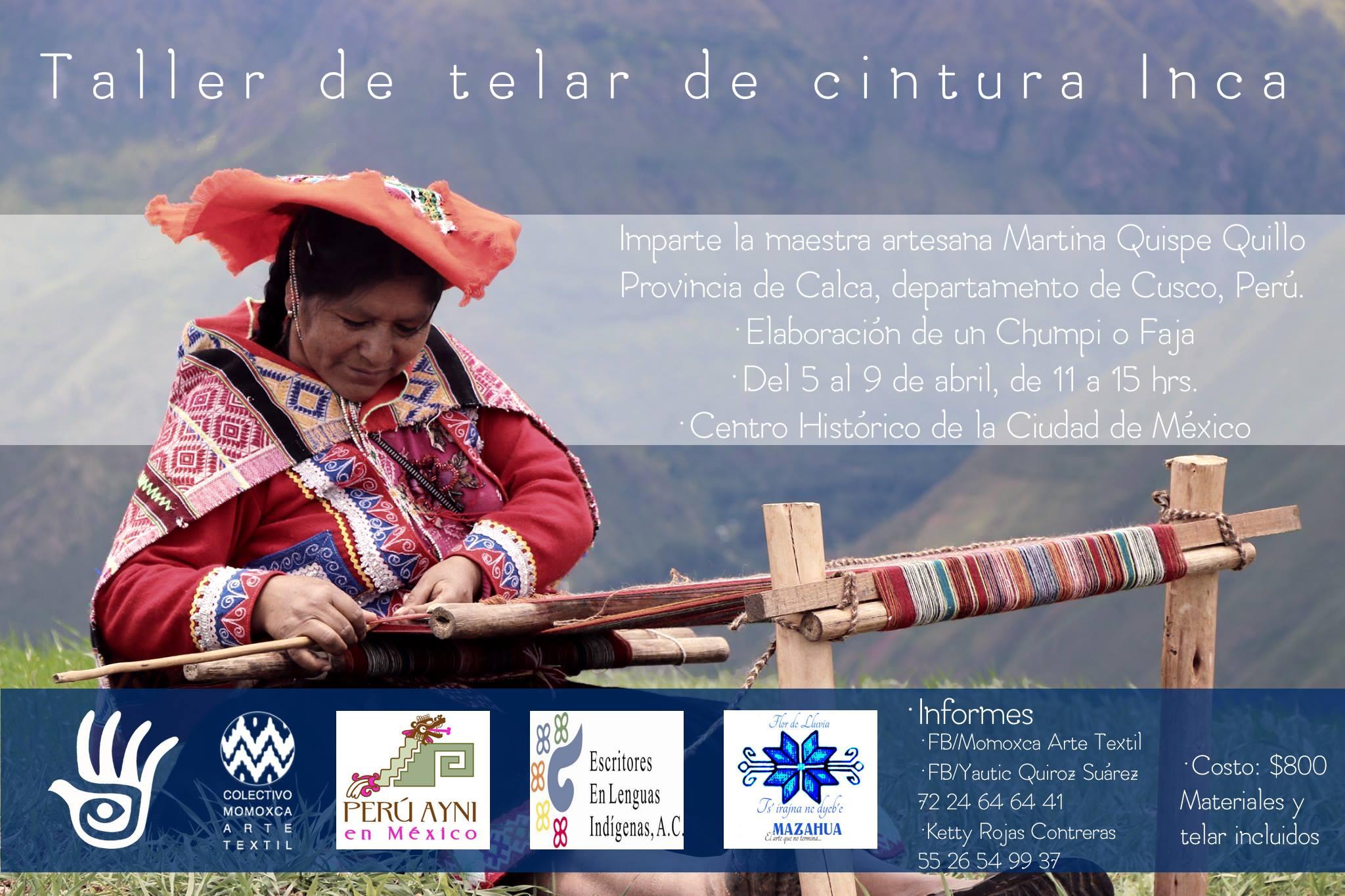 Taller de telar de cintura Inca en la Ciudad de México