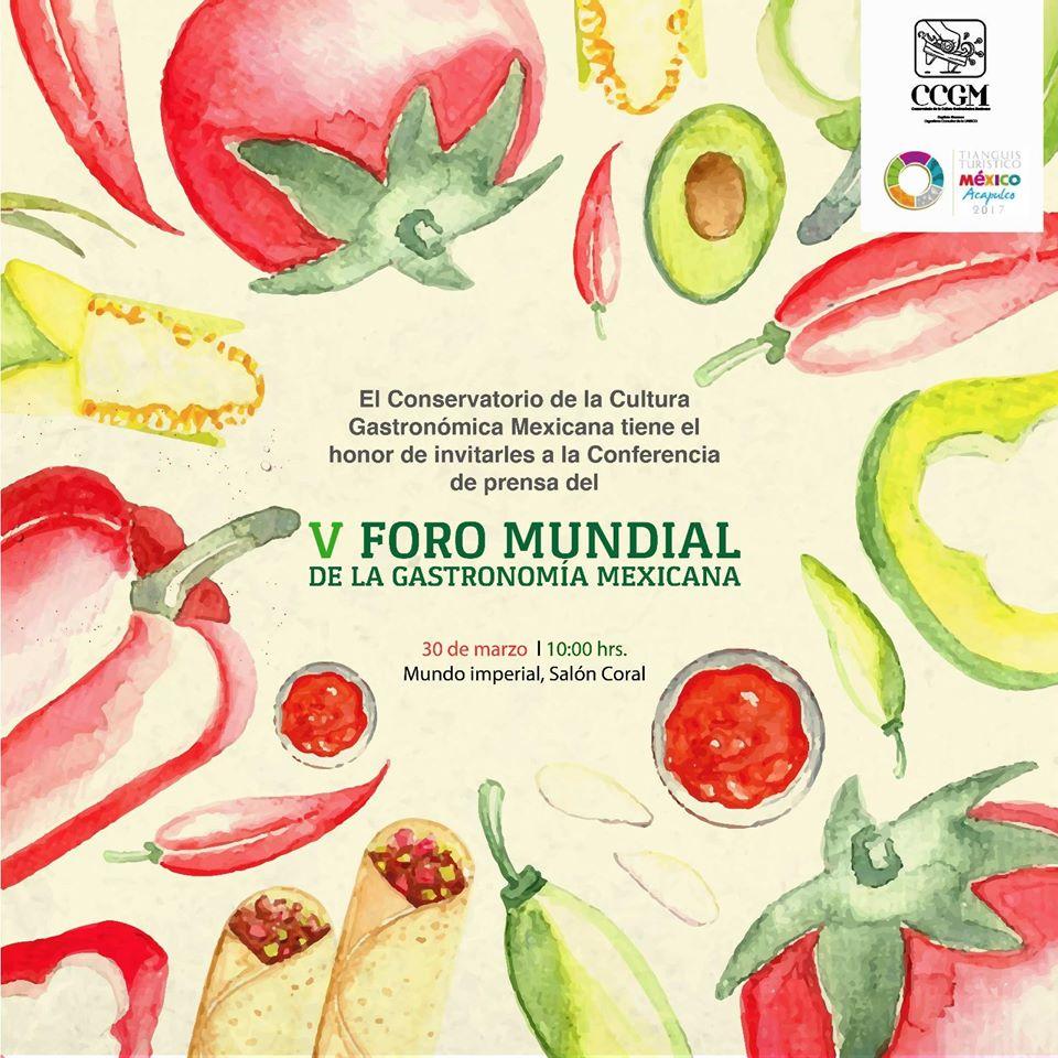 Rueda de prensa del V Foro Mundial de la Gastronomía Mexicana.
