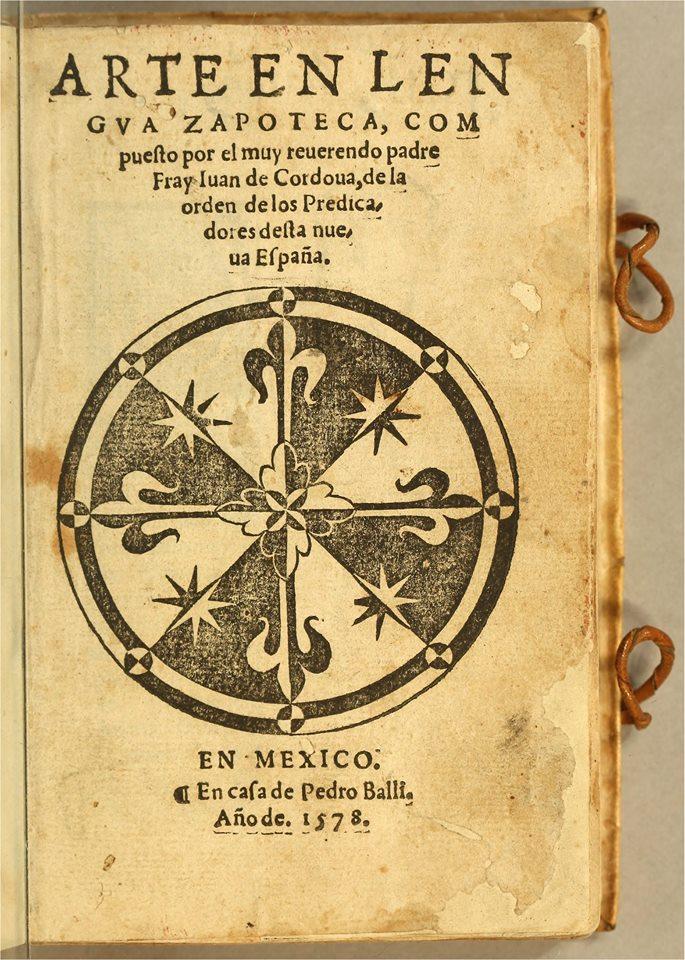 Libro en PDF – «Arte en Lengua Zapoteca»  Juan de Córdova, 1578