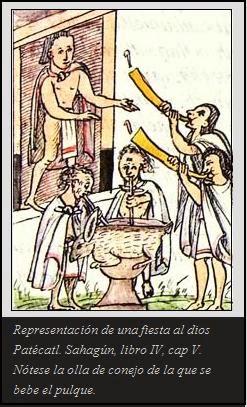 De la superstición que tenían los aztecas al beber pulque.