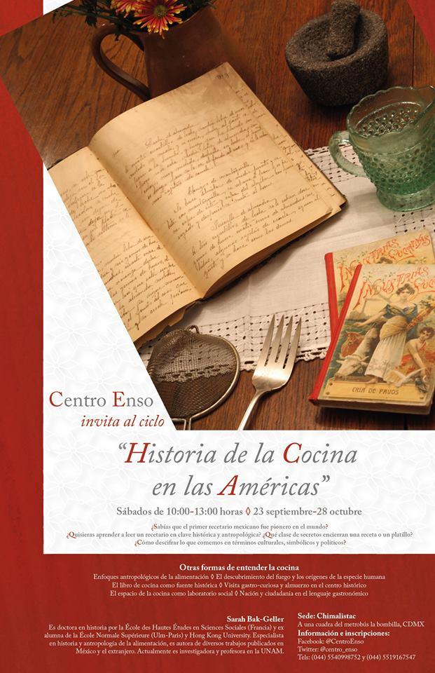 Curso sabatino «Historia de la cocina en las Américas» Septiembre CDMX.