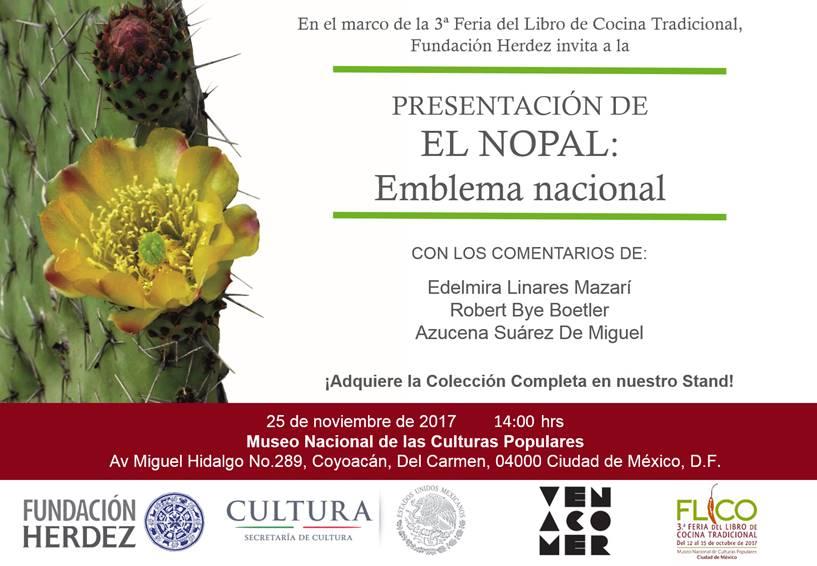 INVITACIÓN a la presentación del libroEL NOPAL: EMBLEMA NACIONAL.