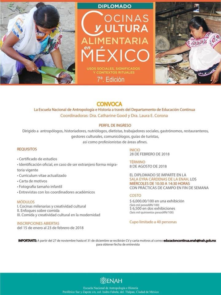El Diplomado de Cocinas y Cultura Alimentaria en Mexico en su 7ma edición