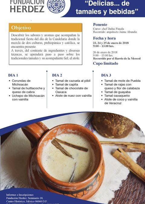 """Curso """"Tamales y Bebidas del día de la Candelaria"""";  23 al 25 de Enero 2018, CDMX"""