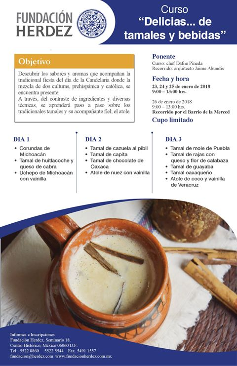 Curso «Tamales y Bebidas del día de la Candelaria»;  23 al 25 de Enero 2018, CDMX