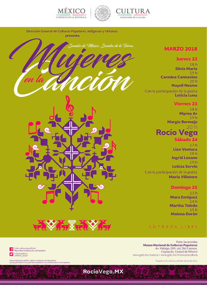 Conciertos «Mujeres en la Canción» en conmemoración al #DíaInternacionalDeLaMujer.