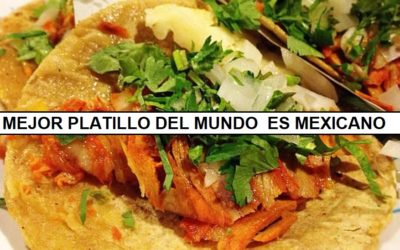 """""""Tacos al Pastor"""" se corona como el mejor platillo del mundo. Es aderezado con achiote, una delicia prehispánica."""