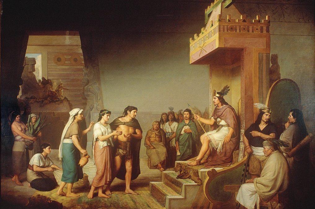 Descubre un noble el aguamiel del maguey, y lleva regalos a Tecpancaltzin
