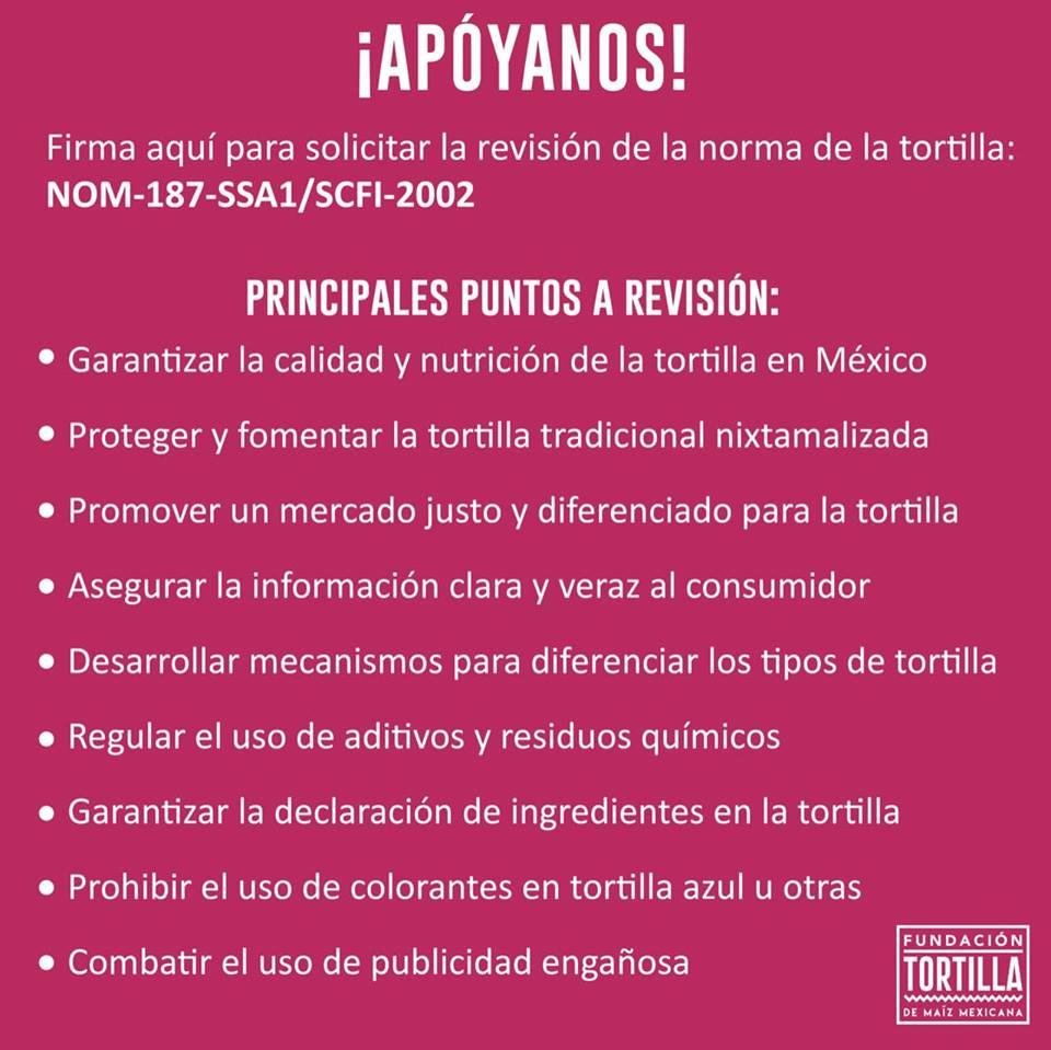 Firma esta petición para solicitar la inclusión de la Norma de la Tortilla
