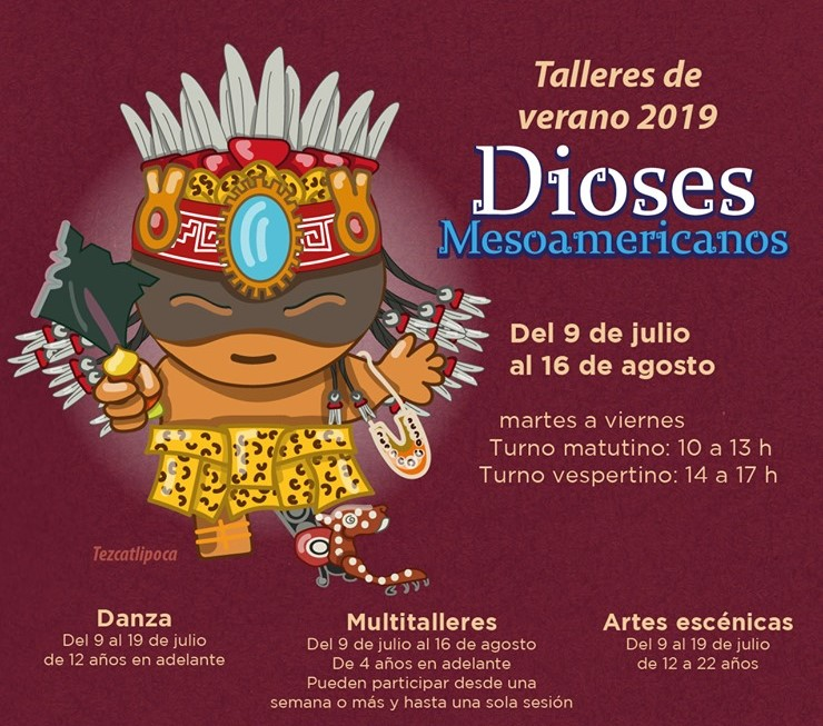 """Taller de verano para todas las edades. """"Los dioses mesoamericanos"""" CDMX."""