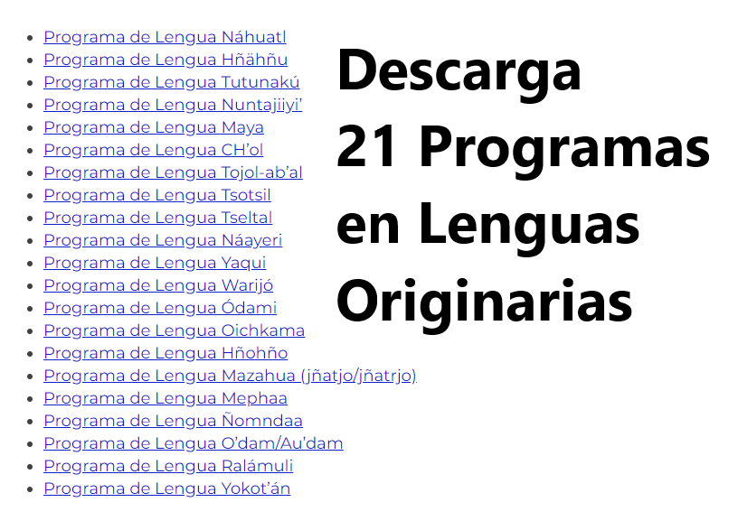 Programas de Estudios de 21 Lenguas ORIGINARIAS.