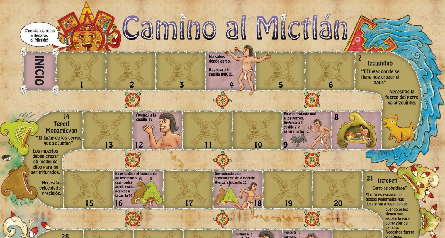 El Juego de mesa «Camino al Mictlán» es un material didáctico para niños que puedes descargar online